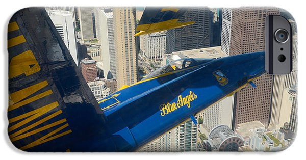 Angel Blues iPhone Cases - The Blue Angels over Chicago iPhone Case by Specialist 1st Class Michael Lindsey