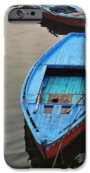 Beach Landscape iPhone Cases - The Blue Boat iPhone Case by Kim Bemis