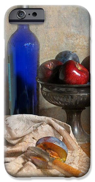 Table Wine iPhone Cases - The Blue Bottle iPhone Case by Diana Angstadt