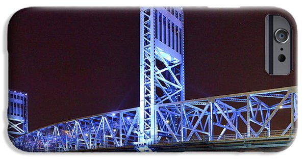 St. Johns River iPhone Cases - The Blue Bridge - Main Street Bridge Jacksonville iPhone Case by Christine Till