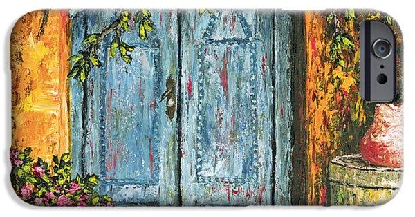 Old Pitcher Paintings iPhone Cases - The Blue Door iPhone Case by Darice Machel McGuire