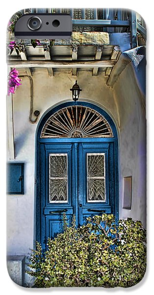 Artistic Photography iPhone Cases - The Blue Door-Santorini iPhone Case by Tom Prendergast