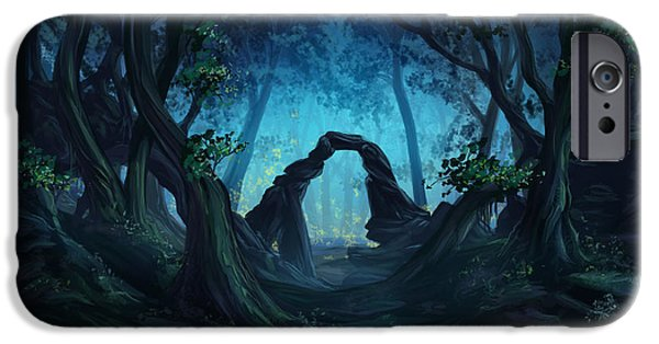 Phantasie Digital Art iPhone Cases - The Blue Forest iPhone Case by Cassiopeia Art