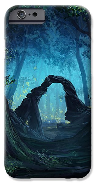 The Blue Forest iPhone Case by Cassiopeia Art