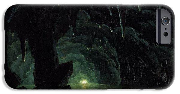 Cavern iPhone Cases - The Blue Grotto iPhone Case by Albert Bierstadt