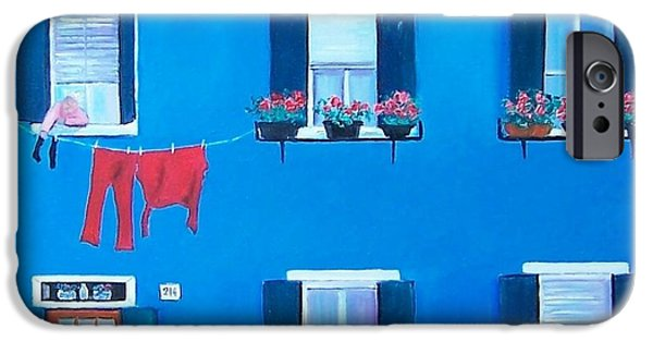 Blue And Red Paintings iPhone Cases - The Blue House Burano iPhone Case by Jan Matson