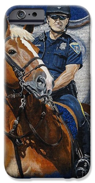 Police Officer Paintings iPhone Cases - the Blue Knight iPhone Case by Pat DeLong