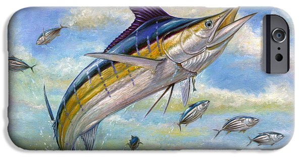 Small iPhone Cases - The Blue Marlin Leaping To Eat iPhone Case by Terry  Fox