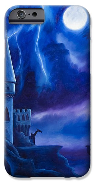 Thunder Paintings iPhone Cases - The Blue Tower iPhone Case by James Christopher Hill