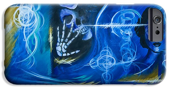 Thunder Paintings iPhone Cases - The Blue Witch iPhone Case by James Christopher Hill