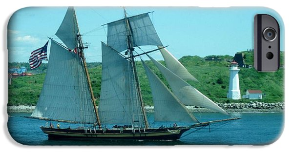 Police Art iPhone Cases - American Tall Ship Sails Past McNabs Island iPhone Case by John Malone