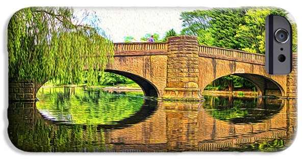 Willow Lake Mixed Media iPhone Cases - The Boating Lake at Thompson Park Burnley iPhone Case by Peter McHallam