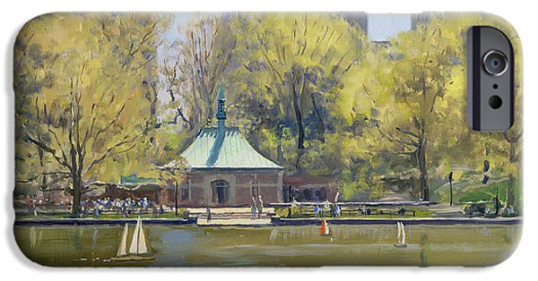 Model iPhone Cases - The Boating Lake, Central Park, New York, 1997 Oil On Canvas iPhone Case by Julian Barrow