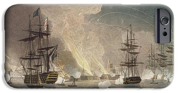 Sailing Drawings iPhone Cases - The Bombardment Of Algiers By The Royal iPhone Case by Thomas Whitcombe