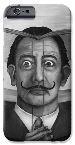 Dali iPhone Cases - The Book Of Surrealism bw iPhone Case by Leah Saulnier The Painting Maniac