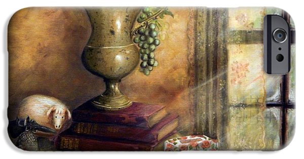Old Pitcher Paintings iPhone Cases - The Books By The Window iPhone Case by Sandra Aguirre