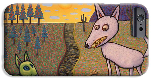 Creatures Paintings iPhone Cases - The Border iPhone Case by James W Johnson