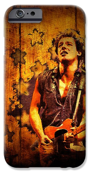 Bruce Springsteen Prints iPhone Cases - The Boss 1985 iPhone Case by Paula Ayers