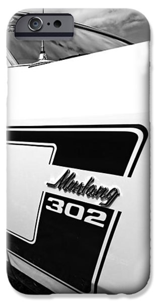 Sportcars iPhone Cases - The Boss - 69 Mustang 302 in Black and White iPhone Case by Gill Billington