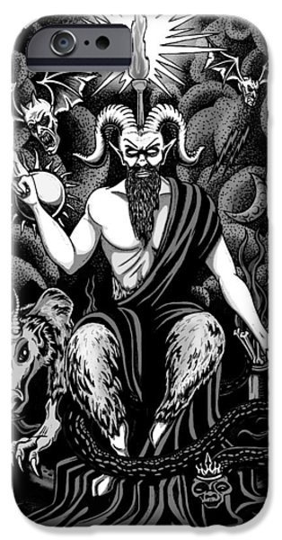 Lucifer iPhone Cases - The Boss BlackWhite iPhone Case by Steve Hartwell