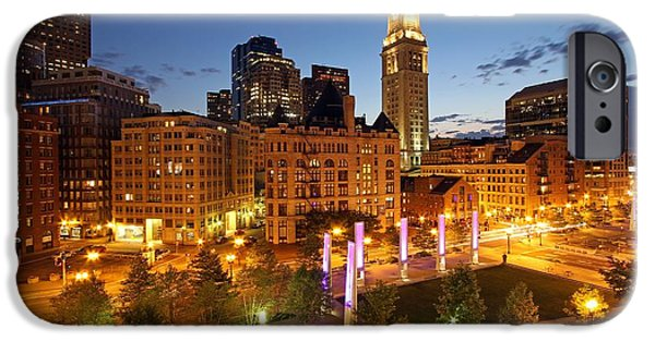 Custom House Tower iPhone Cases - The Boston Rose F. Kennedy Greenway with Light Blades  iPhone Case by Juergen Roth