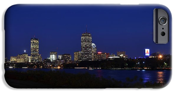 Charles River iPhone Cases - The Boston Skyline at dusk iPhone Case by Toby McGuire
