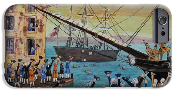 Tea Party Paintings iPhone Cases - The Boston Tea Party  iPhone Case by Jan Mecklenburg