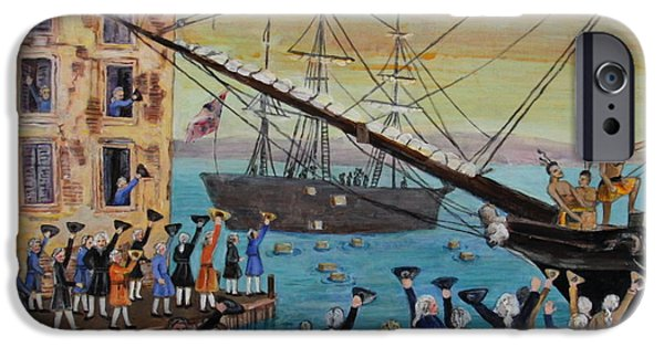 Best Sellers -  - Tea Party iPhone Cases - The Boston Tea Party  iPhone Case by Jan Mecklenburg