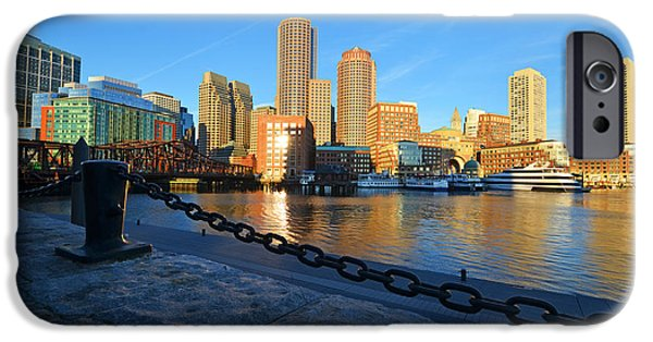 Oxford. Oxford Ma. Massachusetts iPhone Cases - The Boston Waterfront in morning light iPhone Case by Toby McGuire