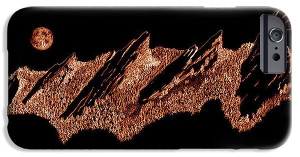 Red Rock Drawings iPhone Cases - The Boulder Flatirons Red iPhone Case by Jerry McElroy