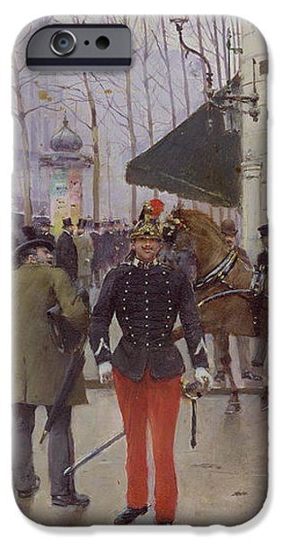 The Boulevard des Capucines and the Vaudeville Theatre iPhone Case by Jean Beraud