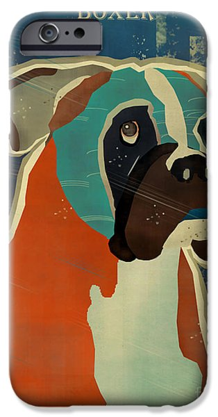 Boxer Digital Art iPhone Cases - The Boxer iPhone Case by Bri Buckley