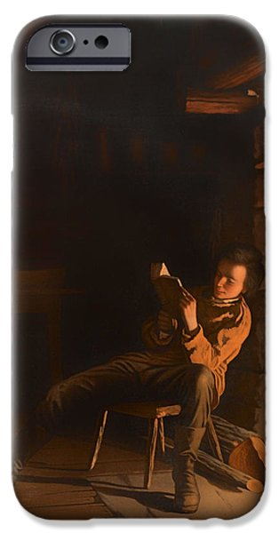 Abraham Lincoln Canvas iPhone Cases - The Boyhood of Lincoln iPhone Case by Eastman Johnson