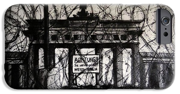 Berlin Drawings iPhone Cases - The Brandenburg Gate as viewed from West Berlin in 1961 iPhone Case by Jose A Gonzalez Jr