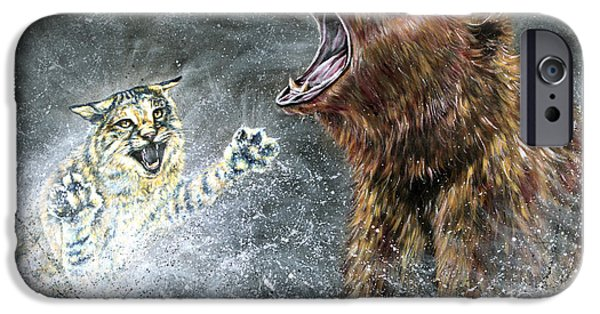Bobcats Paintings iPhone Cases - The Brawl iPhone Case by Teshia Art