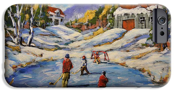 Hockey Paintings iPhone Cases - The Break Away by Prankearts iPhone Case by Richard T Pranke