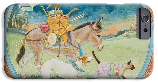 Dog In Landscape iPhone Cases - The Bremen Town Musicians iPhone Case by Lynn Bywaters