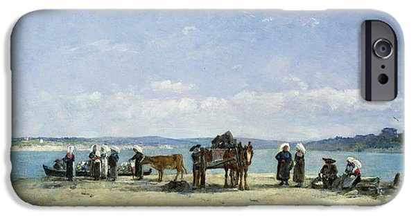 Fishermen iPhone Cases - The Breton Fishermens Wives iPhone Case by Eugene Louis Boudin
