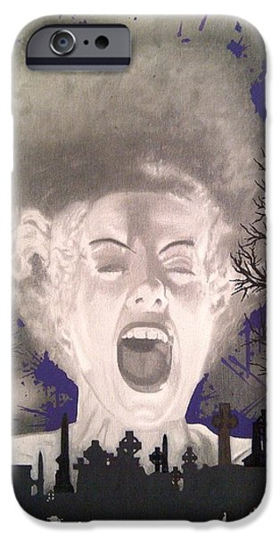Mix Medium Drawings iPhone Cases - The Bride iPhone Case by Asev One