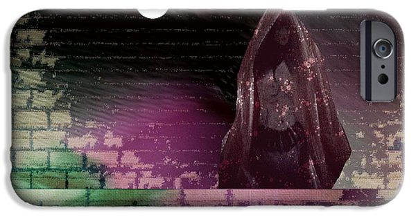 Night Angel Mixed Media iPhone Cases - The Bride Left Behind iPhone Case by Sharon Ann Calvo