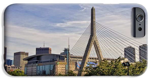 City. Boston iPhone Cases - The Bridge And The Arena - Boston iPhone Case by Joann Vitali
