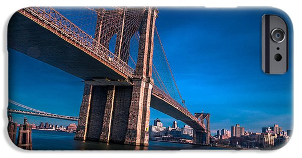 Nyc Pyrography iPhone Cases - The bridge and the city iPhone Case by Moshe Edri