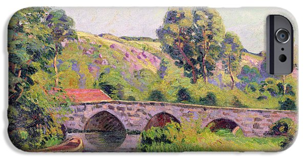 Punting iPhone Cases - The Bridge at Boigneville iPhone Case by Jean Baptiste Armand Guillaumin