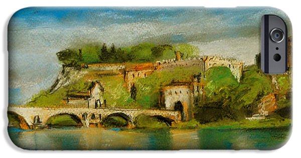 Pastel iPhone Cases - The Bridge Of Avignon iPhone Case by Mona Edulesco