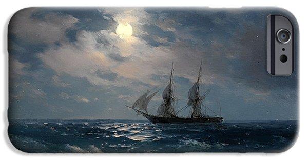 Brig iPhone Cases - The Brig Mercury in Moonlight iPhone Case by Ivan Konstantinovich Aivazovsky