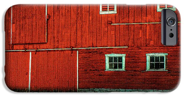Red Barn In Snow iPhone Cases - The Broad Side of a Barn iPhone Case by Lois Bryan