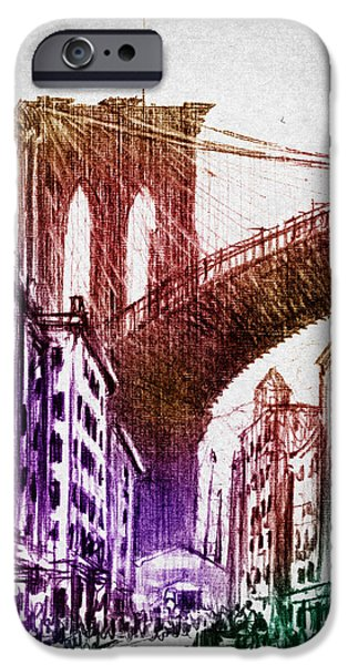 Landmarks Digital iPhone Cases - The Brooklyn Bridge iPhone Case by Aged Pixel