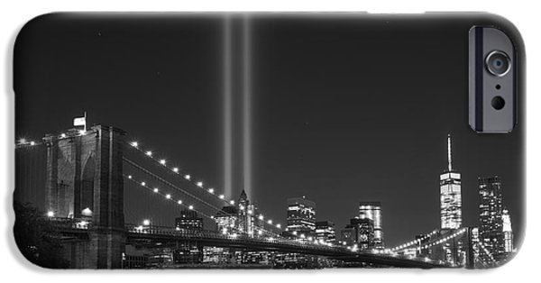 Manhatan iPhone Cases - The Brooklyn Bridge BnW iPhone Case by Michael Ver Sprill