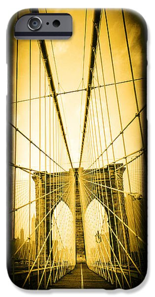 York County iPhone Cases - The Brooklyn Bridge New York iPhone Case by Edward Fielding