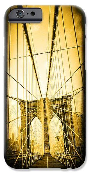 Walk Paths iPhone Cases - The Brooklyn Bridge New York iPhone Case by Edward Fielding